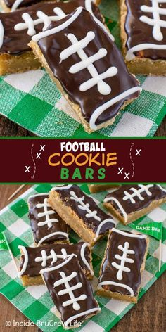 Football Cookie Bars - easy cookie bars decorated with chocolate to look like footballs. Great recipe for sports parties or game days! Football Cookies, Football Food, Delicious Desserts, Dessert Recipes, Facebook Recipe, Chocolate Decorations, Game Day Food, Cookie Bars, Cookie Decorating