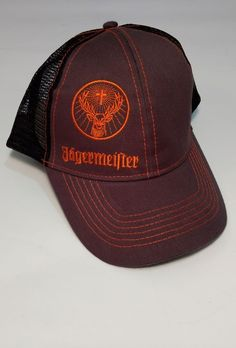 Snapback Jagermeister Deer Orange Logo Adult Trucker Hat Cap Mesh Black  Gray  92d6d47f3be5