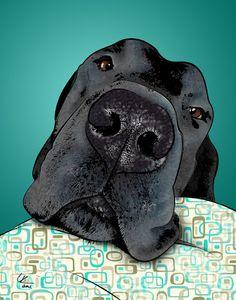 Black Dog Pop Art Print by PopDogDesigns on Etsy Pet Dogs, Dog Cat, Boxer Dogs, Doggies, The Animals, Dog Artwork, Dane Dog, Dane Puppies, Maltese Dogs