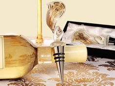 Wine Stoppers - Murano Art Deco Collection Elegant Golden Swirl Wine Stopper C2763 Quantity of 1 * Want additional info? Click on the image.