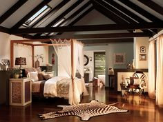 Create a stay-cation by bringing the safari to your own bedroom! Achieve this look by pairing earthy tones with dark and natural wood pieces. Animal print accents are a plus!  Main wall: Serengeti Dust T12-15 Accent wall: Compass T12-11 Ceiling: Livingstone T12-14 Trim: Tribal Drum T12-13 Accents: Jackal T12-12