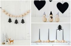 DIY ideas with wooden beads - 15 inspired projects .- Idées de bricolage avec des perles en bois projets inspirants DIY ideas with natural wood beads – 15 inspiring projects to try right away - Homemade Christmas Decorations, Xmas Decorations, Christmas Ornaments, Scandi Christmas, Christmas Projects, Beaded Garland, Wooden Beads, Diy Gifts, Diy And Crafts