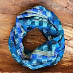 Blue and Green Infinity Scarf - Handwoven