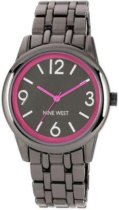 Nine West Women's Gunmetal-Tone Adjustable Bracelet Watch 39mm NW-1579PKGN