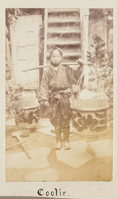 "Japanese labourer, identified as a ""coolie"", photographed between 1867 and 1869."