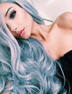 40 amazing ideas for Mermaid Hair - Hair Style 2019 Silver Blue Hair, Gray Hair, Light Blue Hair, Blonde Hair, Hair Color 2016, Dye My Hair, Pastel Hair, Pastel Blue, Grunge Hair