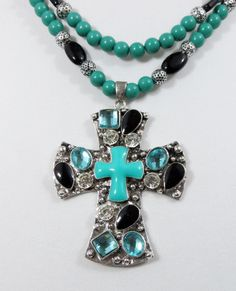 Cowgirl Bling Silver Turquoise Cross Aqua Black Rhinestones Gypsy necklace set  our prices are WAY BELOW RETAIL! all JEWELRY SHIPS FREE! www.baharanchwesternwear.com baha ranch western wear ebay seller id soloedition