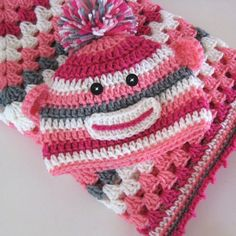Granny square blanket and matching monkey hat