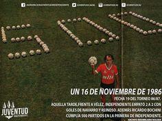 #IndependienteHistorico Frente a #Vélez, #Independiente empató 2 a 2  Bochini cumplía #500partidos en #Independiente