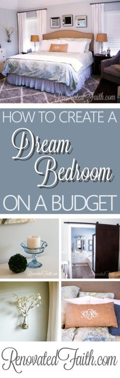 Having a bedroom you love to wake up in doesn't mean you need to break the bank. In my post, How To Create A Dream Bedroom On A Budget, I'll show you lots of tricks to get the bedroom you've always wanted! Source list included. www.renovatedfaith.com