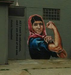 "nprfreshair:  ""All I want is education, and I am afraid of no one."" Malala Yousafzai as Rosie the Riveter."