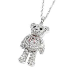 "Rhinestone Teddy Bear Pendant Necklace; 18""L With 1.25""L Pendant; Silver Metal; Clear, Pink, And Black Rhinestones; Jointed Arms And Legs; Lobster Clasp Closure Eileen's Collection. $24.99. Save 50% Off!"
