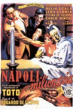 """Napoli milionaria è un film del 1950 diretto da Eduardo De Filippo.  Alberto Anile disse """"Con l'aiuto di alcuni sceneggiatori professionisti, Eduardo rimette mano al testo teatrale e lo trasforma in una rievocazione più ampia, che illustra dieci anni di vita e storia napoletana, dal '40 al '50, un diario napoletano di cose accadute nel mondo ieri, oggi."""""""
