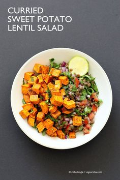 Curried Sweet Potato Lentil Salad. Simple Indian spices, roasted sweet potato, earthy lentils, lime juice and a refreshing lunch bowl. Vegan Gluten-free Soy-free Nut-free Recipe. Can be made oil-free.   VeganRicha.com