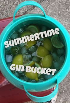 Gin Bucket ..... pretty close to mine. I use 2 liter diet squirt and 2 liter diet dew. Cut up 3 limes, 3 lemons, 2 lbs strawberries and 4 bananas.   Recipe:  1 bottle of gin (I tend to go cheap) 2 liter diet squirt  2 liter diet dew 1 can of frozen lemonade  1 can of frozen limeade 1 bag of ice (1 1/2 gallons .... use 1 1/2 ice cream bucket)  Another variation is to substitute 2 liter bottles of Fresca or Sprite  Store it in a cooler (like this 5-gal Igloo one)