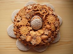 Veľkonočný veniec, Autor: Jani1 Cookie House, Christmas Cookies, Gingerbread, 3 D, Muffin, Sweets, Breakfast, Desserts, Templates