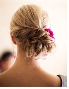 bridesmaid hair. messy and perfect side bun @ Wedding Ideas