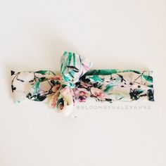 Floral head wrap - emerald green and pink - wide non stretch headband with tie on bow