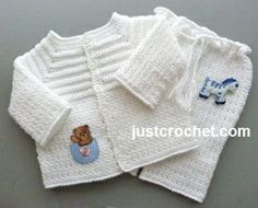 Free baby crochet pattern for boys christening outfit… Crochet Baby Sweaters, Gilet Crochet, Crochet Baby Cardigan, Crochet Baby Clothes, Crochet Jacket, Baby Knitting, Crochet Bebe, Crochet For Boys, Baby Set