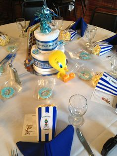 Diaper cakes for the centerpieces. The plush characters came from Ebay.