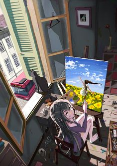 ✮ ANIME ART ✮ artist. . .painter. . .painting. . .easel. . .canvas. . .paint splatters. . .paint brush. . .anime girl. . .long hair. . .messy room. . .cat. . .cute. . .kawaii