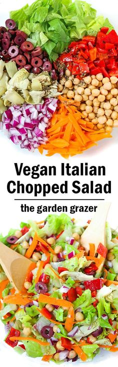 New salad obsession! So much FLAVOR! Healthy Vegan Italian Chopped Salad with easy bold & zesty vinaigrette (vegan, oil-free) Italian Chopped Salad, Italian Salad, Vegetarian Recipes, Healthy Recipes, Vegetarian Salad, Dinner Salads, Vegan Dinners, Soup And Salad, Italian Recipes