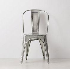 Vintage Steel Desk Chair - Antiqued Nickel