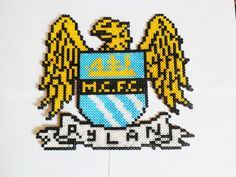 One of the most popular football/ soccer teams in the world! PREMIER LEAGUE WINNERS For the fan who has everything! Premier League Winners, Football Wall, Personalized Football, Pearler Beads, Manchester City, Kids Playing, Thor, Team Logo, Nerdy