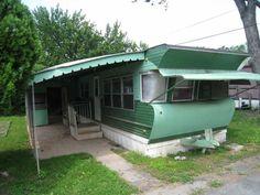 green vintage trailer