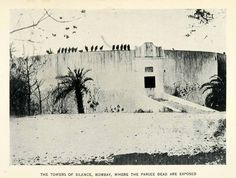 1906 halftone print of the Towers of Silence located in Bombay, India. These towers are used in the Zoroastrian tradition of disposing of the dead. Rather that burying the deceased, the Zoroastrian religion dictates that bodies must be placed atop the roof of these type of buildings, exposed to sun and birds of prey to decompose. Hence, the group of Vultures perching around the tower's perimeter.