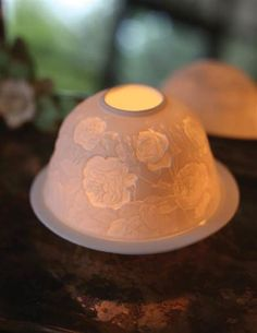 Briar Rose Luminary - Roses Porcelain Candle Lithophane