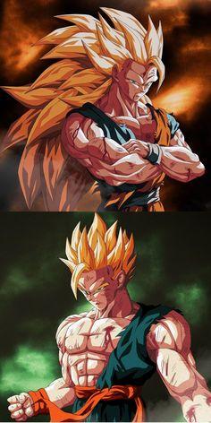 Goku y Gohan by: chanampart Art Gundam, Dragon Ball Image, Goku Super, Animes Wallpapers, Son Goku, Digimon, Comic Art, Dc Comics, Otaku