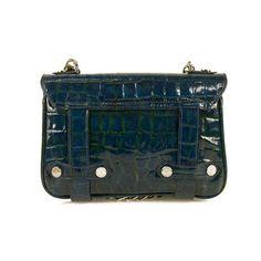 Aspinal of London Blue Crocodile Patent Leather Shoulder Bag Clutch Handbag