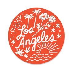 """A little love for thecity of Los Angeles. Details2 1/2"""" x 2 1/2"""" round durable vinyl stickerscratch and weatherproofmade in the USA Please be aware the first class shipping option will ship with no tracking number, as to keep shipping costs down on stickers. Thank you!"""