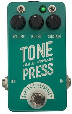 Barber Tone Press Parallel Compressor Pedal – New Mint Turquoise Compact Version!  http://www.instrumentssale.com/barber-tone-press-parallel-compressor-pedal-new-mint-turquoise-compact-version/