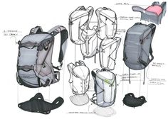 Soft goods backpack product sketches by industrial designer Greg Caneer at…