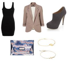 Grey blazer, black dress, shoe boots and colourful clutch bag.