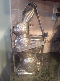 Antique bunny with basket chocolate mold