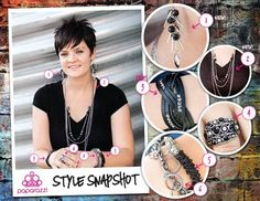 { Style Snapshot } Funky black and silver elements can bump a normal t-shirt from ordinary to fabulous! Check out the way classic silver pieces such as the ring, bracelets and necklace combine with dramatic silver spikes in the earrings and then transition to a bold twisted leather bracelet for a show-stopping ensemble that will feed your five dollar habit!