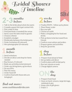 Printable bridal shower planning timeline | SouthBound Bride #hennight #bridalshower #kitchentea
