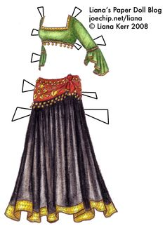 PAPER DOLL (tribal-belly-dance-costume-with-green-choli-with-gold-trim-red-and-gold-hipscarf-with-gold-coins-and-full-black-skirt-with-gold) Paper Dolls Clothing, Doll Clothes, Cute Costumes, Dance Costumes, Dance Crafts, Barbie, Paper Fashion, Tribal Belly Dance, Vintage Paper Dolls