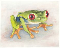 Frog Watercolor by Water In My Paint