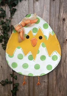 Easter Egg with Chick and Green Polka Dots Door Hanger