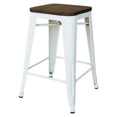 Threshold Hampden Industrial Barstool with Wood Top (Set of 2)