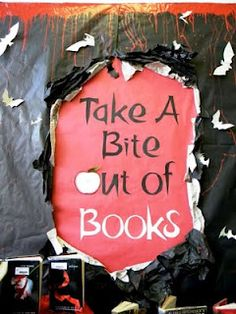 Library display by Glee Stormont  This display by Glee Stormont from Kailua Intermediate School in Hawaii is a great way to get students to read beyond the hugely popular Twilight series.   She says: 'The bats are cut from old book pages and the background paper that just looks white was newspaper to sort of look like book pages'. What a great display! Thanks Glee.