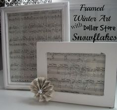 Framed Winter Art using Dollar Store snowflake ornaments. Leave this decoration up all winter long.