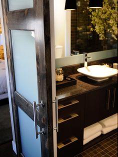 HGTV Green Home Master Bathroom Pictures : Green Home : Home & Garden Television New Bathroom Ideas, Bathroom Pictures, Bathroom Barn Door, Master Bathroom, Barn Door In House, Glass Barn Doors, Interior Barn Doors, Dream Decor, Beautiful Kitchens
