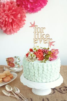 For Like Ever Wedding Cake Topper with Coral Love Birds - Ready to ship