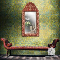 Moroccan-inspired Stenciled Wall | Palace Trellis Moroccan Stencil
