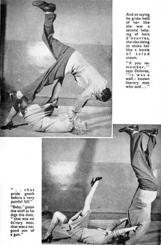 Dolores Marlins demonstrating the fine art of self-defence in stockings. From Span, October 1955.